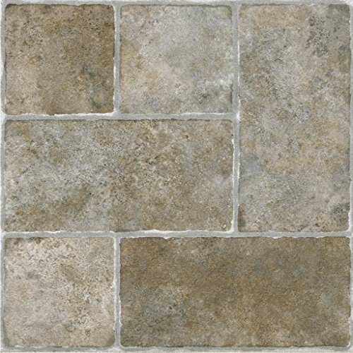 "Achim STCTS70120 Sterling Self Adhesive Vinyl Floor Tile 12"" x 12"" Cottage Stone from Achim"