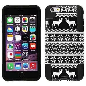 Trek Hybrid Stand Case for Apple iphone 5 5s - Knitted Snowflakes and Reindeer Design on Black WANGJING JINDA