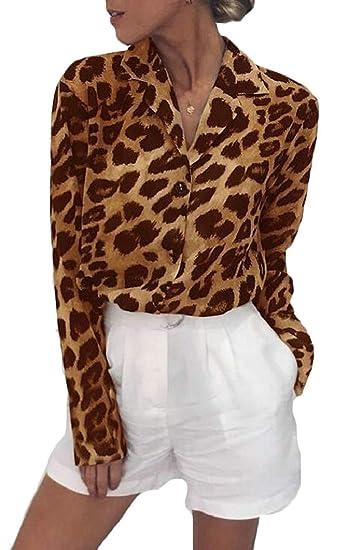 f107ddb92b53 Womens Long Sleeve Leopard Print Loose Chiffon Button Down Shirt at Amazon  Women's Clothing store: