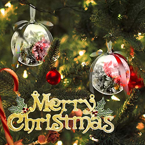 10 Pieces of Transparent Plastic Filled Round Ball Ornaments Christmas Birthday Wedding Party Decorations (80mm) (Round) (Ornaments Christmas Transparent)