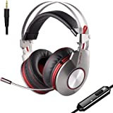PC Gaming Headset for PS4 Xbox One Headphones Wired Over Ear Surround Sound with Microphone Switch Stereo Bass Volume Control Noise Isolating for Laptop, Mac, Computer, Tablet (Silver & Red)