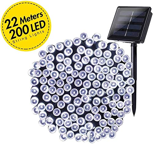 Grezea Solar Fairy String Lights 200 LED Decorative Twinkle Light for Garden Patio Lawn Balcony Tree Outdoor Landscape Holiday Wedding Indoor Starry Decor for Playhouse Bedroom Lighting, 72 White