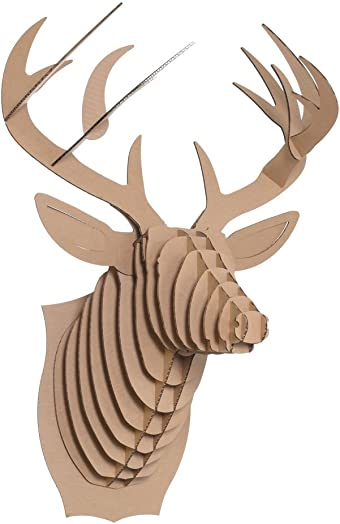 Cardboard Safari Recycled Cardboard Animal Taxidermy Deer Trophy Head, Bucky Brown Large
