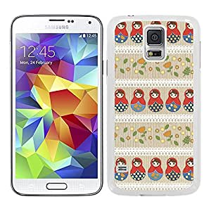 Funda carcasa TPU (Gel) para Samsung Galaxy S5 diseño estampado matrioska 2 borde blanco