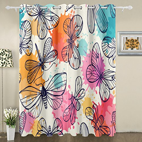 Dragonfly Dreams Window Panels (My Little Nest Butterflies Dragonflies Blackout Window Curtains Grommet Top Thermal Insulated Room Darkening Drape for Bedroom Living Room 55W x 84L Inch, 2 Panels)