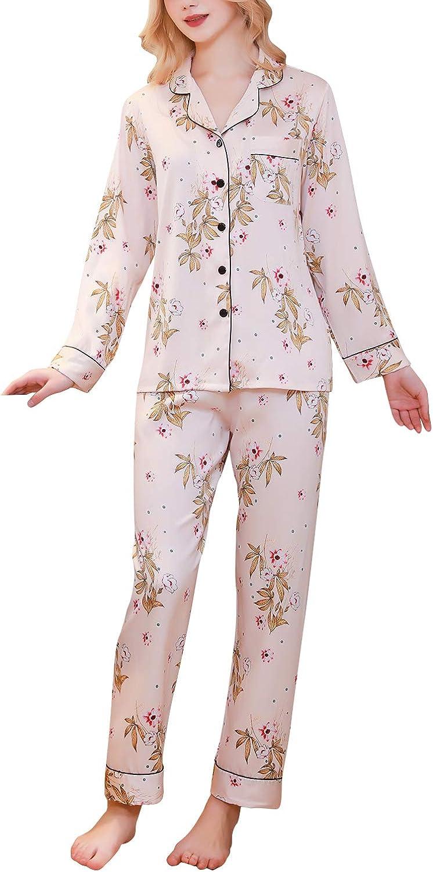 2019 Damen Satin Schlafanzug Negliee Sleepshirt Paare Schlafanzug Silk Langen /Ärmeln Button-Down Nachtw/äsche Hosen Nachtkleid Lingerie YAOMEI Schlafanzug f/ür Damen