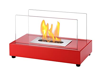 Ignis Portable Tabletop Ventless Bio Ethanol Fireplace   Tower (Red)