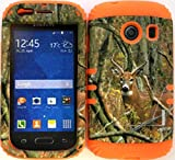 Wireless Fones TM Hybrid Impact Dual Layer Cover Case for Samsung Galaxy Ace Style S765c Straight Talk, Net10 and TracFone Real Deer Camo Mossy on Orange Skin