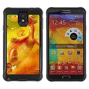 Hybrid Anti-Shock Defend Case for Samsung Galaxy Note 3 / Cute Dragon hjbrhga1544