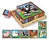 : Melissa & Doug Farm Wooden Cube Puzzle With Storage Tray - 6 Puzzles in 1 (16 pcs)