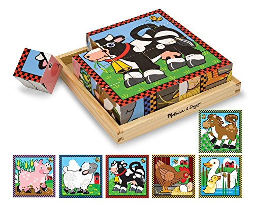Melissa & Doug Farm Wooden Cube Puzzle With Storage Tray - 6 Puzzles in 1 (16 pcs) - Baby Animals Block Puzzle