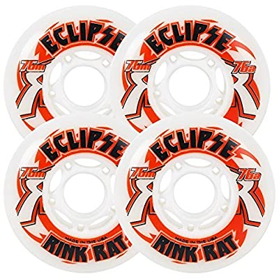 Rink Rat Wheels 72mm 76a Eclipse 4-Pack White/Red Inline Indoor Hockey : Sports & Outdoors