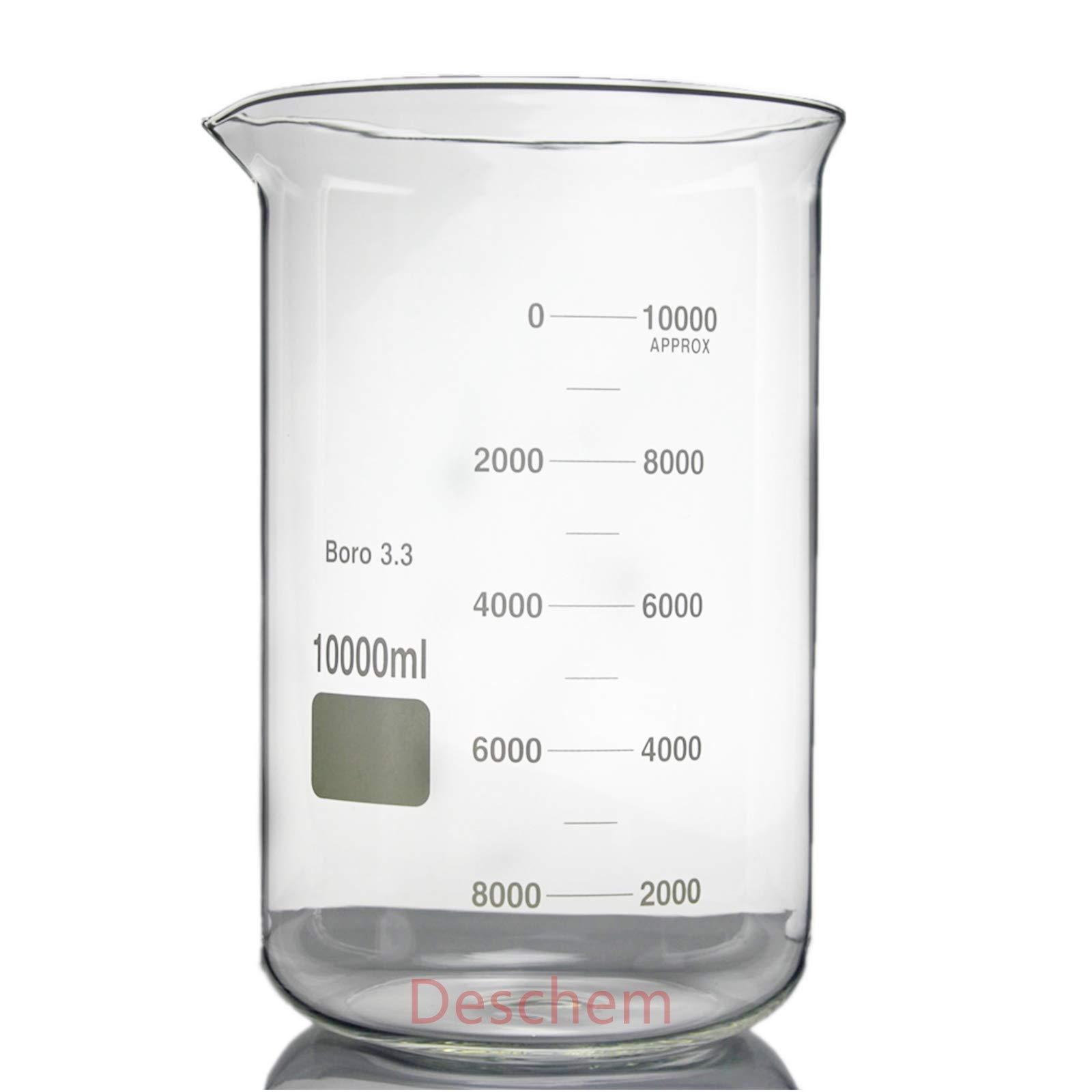 10000mL Borosilicate Glass Beaker,10Litre Low Form,Spout Mouth,New Lab Glassware