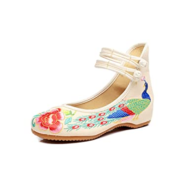 Women's Chinese Traditional Ankle Strap Shoes Red Tail Peacock Embroidery Summer Wedges Sandal Dress Shoes for Cheongsam