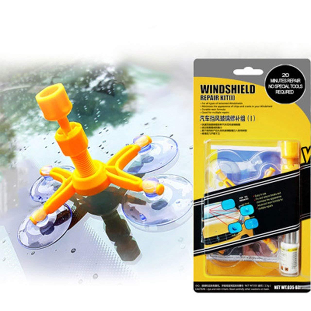 Jasnyfall Gelb Auto Windschutzscheibe Reparatursatz Windschutzscheibe Sprung Chip-Reparatur-Werkzeuge Quick Fix DIY Auto-Fenster-Glas-Kratzer-Reparatur-Kits