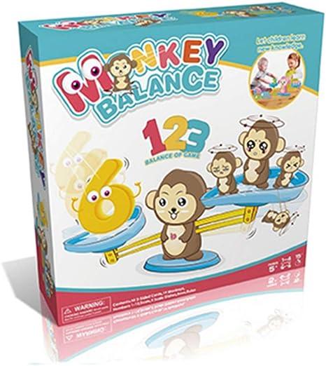 Monkey Balance, juego de báscula de aprendizaje temprano, peso para niños, juego de mesa, matemáticas, número de niños, educativo para iluminar, adiciones digitales y juguetes de resta: Amazon.es: Juguetes y juegos