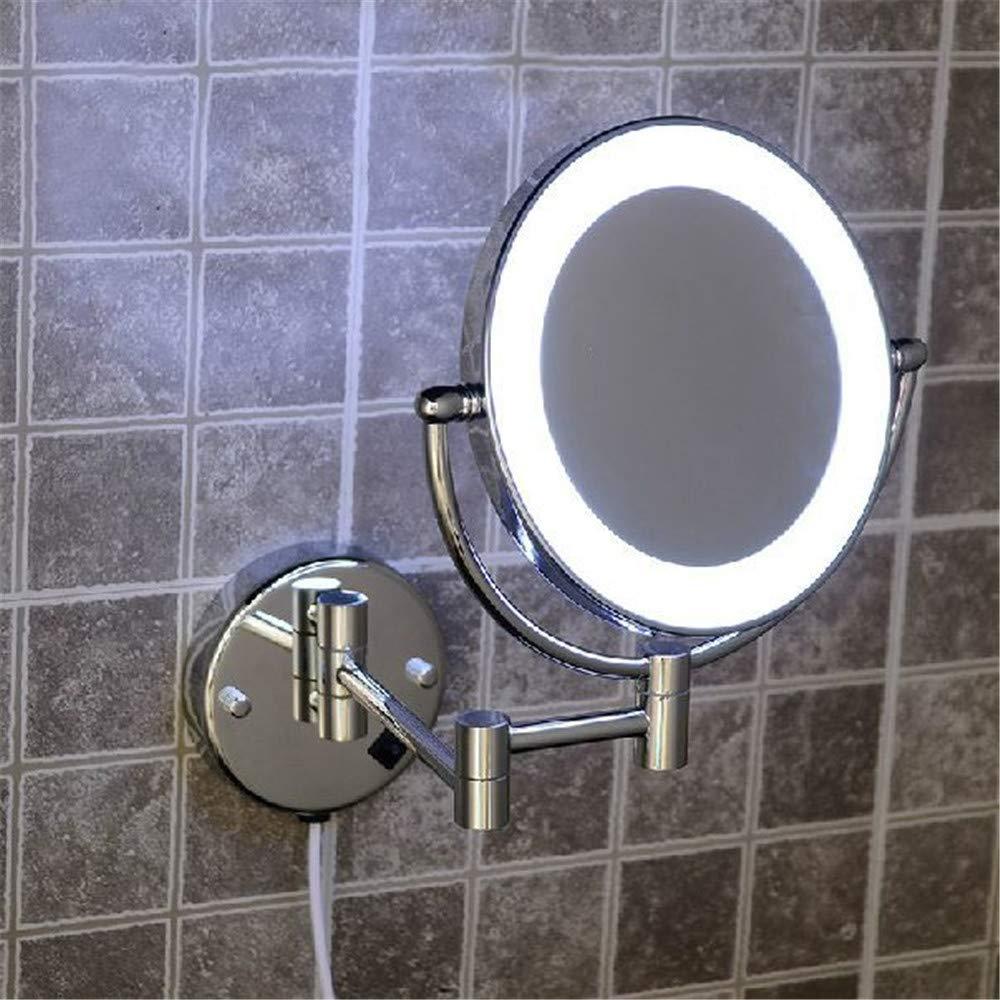 VHVCX Bad Spiegel Messing Kosmetische Schminkspiegel Led-Licht Von Bad Bad Bad Floding Runde 2 Gesicht Wandspiegel 3X-1X Vergrößerungsspiegel Bath Mirrors 375ad4