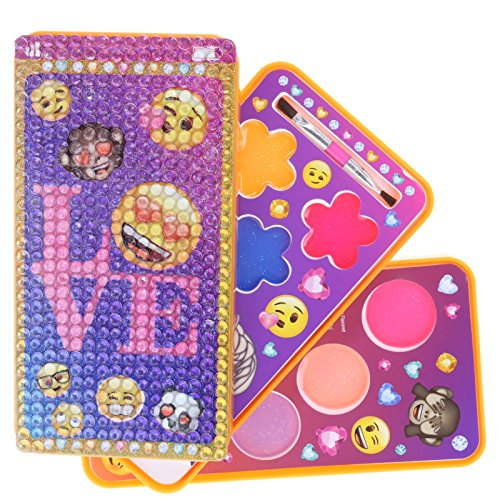 Townley Girl Emoji Sparkly Lipgloss Set For Girls in Cell Phone Carrying Case, Mulitple Flavors