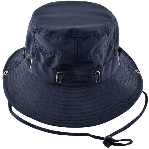 KISSBAOBEI Outdoor Sun Cap with Wind Lanyard Adjustable Boonie hat (Blue) 1d754b80a152