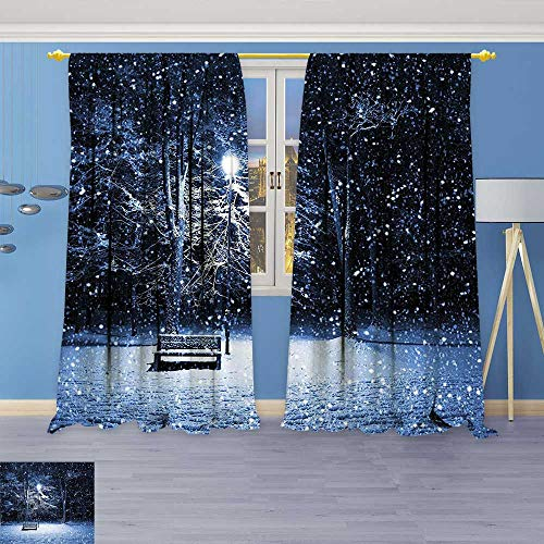 Philiphome Antique Decor Collection,of a Bench and Lantern at The Park in Dark Snowy Night Windy,Living Room Bedroom Curtain 2 Panels Set