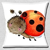 Cute Ladybird Smiling Cartoon Character on White - 16 (40cm) Pillow Cushion Cover by Cushions Corner