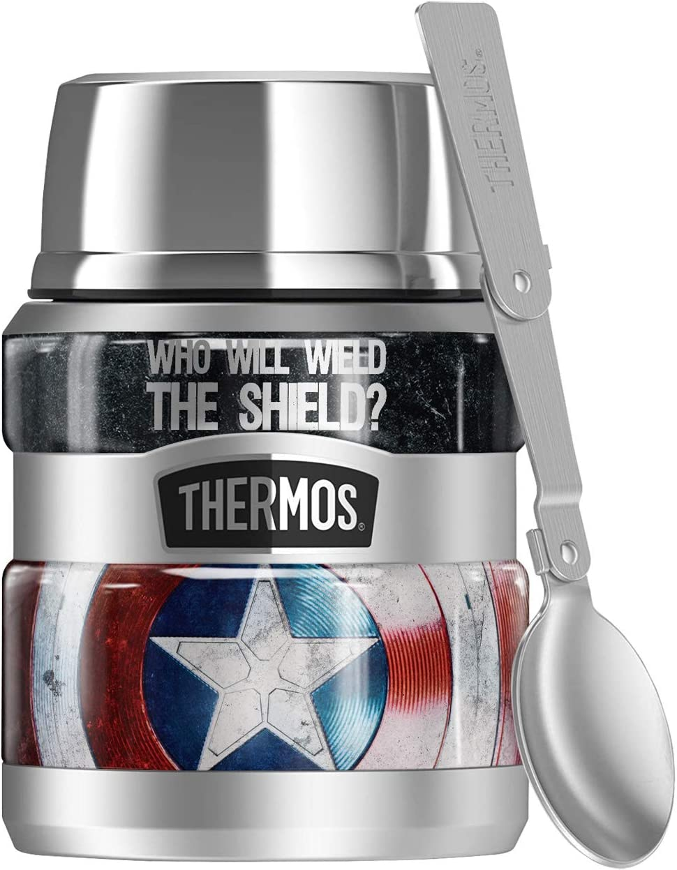 Marvel - The Falcon And The Winter Soldier, Captain America Shield, Wield The Shield THERMOS STAINLESS KING Stainless Steel Food Jar with Folding Spoon, Vacuum insulated & Double Wall, 16oz
