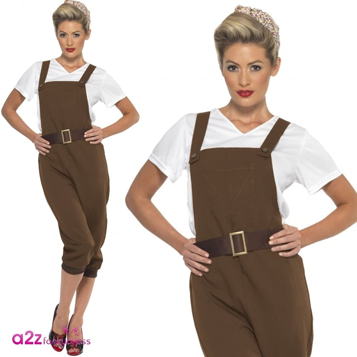 1940s Costumes- WW2, Nurse, Pinup, Rosie the Riveter Smiffys Womens Ww2 Land Girl Costume $38.15 AT vintagedancer.com