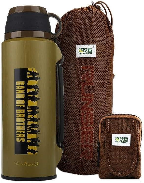 TPXR ステンレス鋼の断熱ポット、大容量アウトドアマグ、男性の車旅行断熱ポット、ブラック、レッド、ホワイト、イエロー、軍事グリー (Color : Army 緑, Size : 2000ML) Army 緑 2000ML