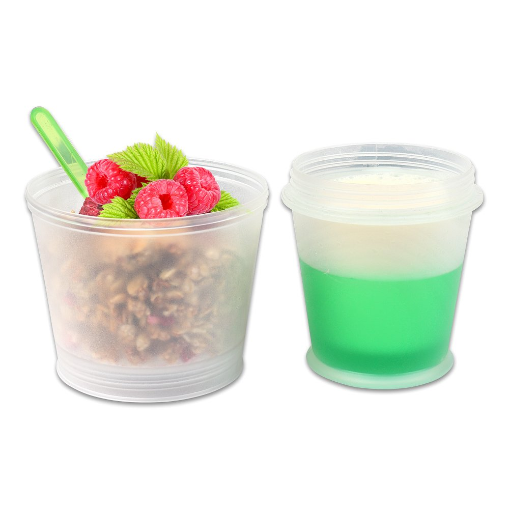 S//O/® Muesli-to-Go Mug Yoghurt Mug Muesli Mug with Integrated Cooling Compartment and Spoon Pack of 2 Muesli // Yoghurt Container for on the go