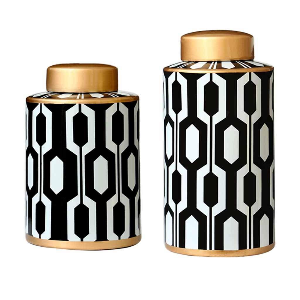 ドライフラワーのための2つの収納瓶現代のスタイリッシュな花瓶のセラミック花瓶セット、リビングルームのテーブルのセンターピースのための理想的な家の装飾または新築祝いの贈り物、白と黒 B07SN2MFK3