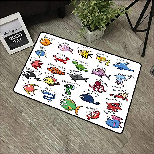 Sassafras Kids Fish - Fakgod Pet Doormat Nautical Decor for Kids Aquarium Cartoon Octopus Dolphin Shark Whale Clown Fish Jellyfish Crab Marine with No-Slip Backing 24