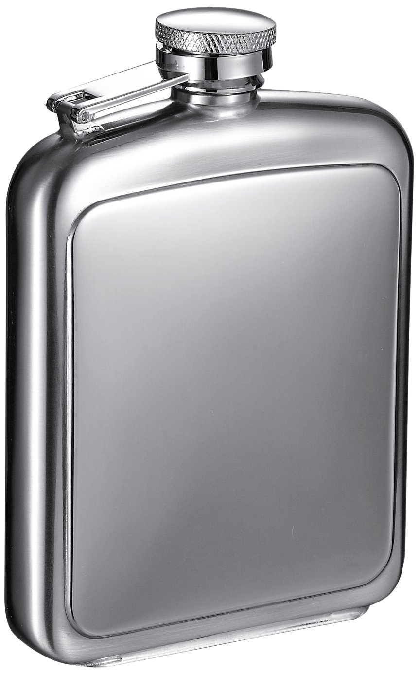 8-Ounce VisolVitak Polished and Brushed Metal Hip Flask Chrome Visol Products VF6021