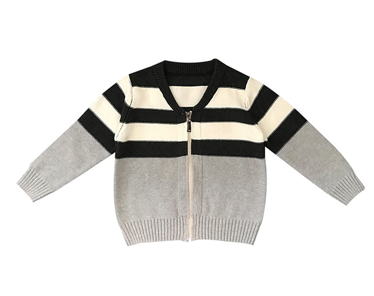 TAIYCYXGAN Baby Boys Girls Knit Cardigan Sweater Toddlers Kids Stripe Zipper Sweater Jacket