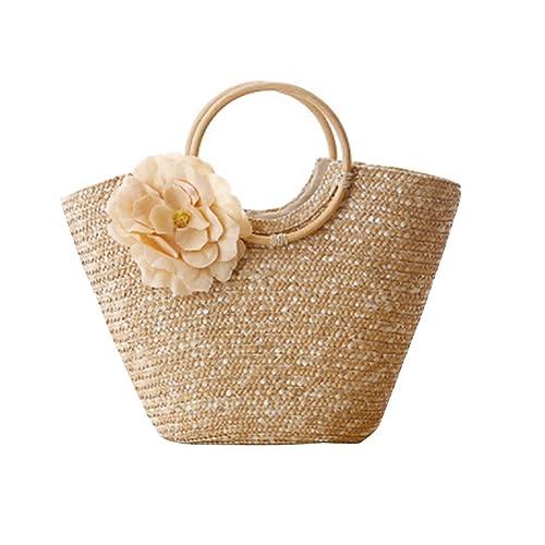 comprare nuovo design dove posso comprare YOUJIA Donne Borsa Di Paglia Spiaggia Handbags Di Circolare Manico In Legno  Tote Borse