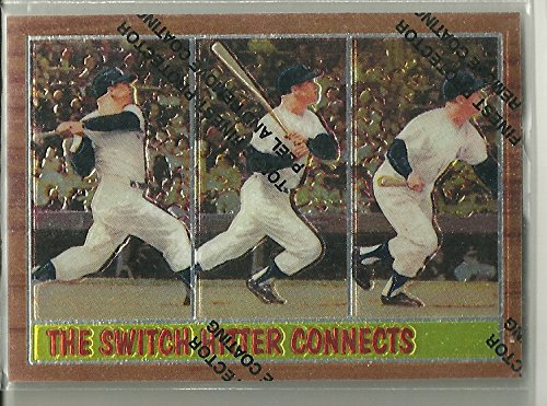 1962 Mickey Mantle (1997 Topps Baseball Mickey Mantle Finest Reprint 1962 The Switch Hitter Connects card)