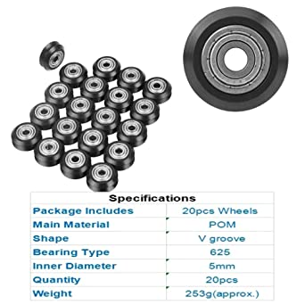 V-Shape Groove Wheel,20pcs V Groove Pulley 5mm Bore 625 Bearing Pulley Accessories Durable and Sturdy,Wear-Resistance for CNC 3D Printer