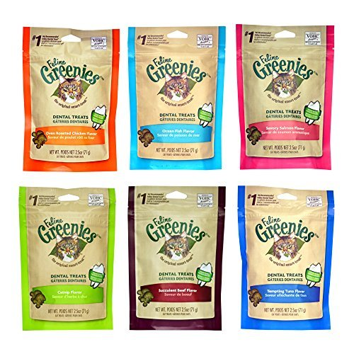 Greenies Dental Cat Treat Variety Bundle - Tuna, Salmon, Ocean Fish, Beef, Chicken, and Catnip Flavor - 2.1 oz. Each (6 Total Pouches - 1 of Each Flavor) by Greenies