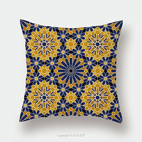 Custom Satin Pillowcase Protector Zellige Tile Moroccan Seamless Pattern Razil Moorish Background Islamic Texture 422291905 Pillow Case Covers Decorative by chaoran