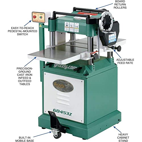 Grizzly Industrial G0453Z – 15 3 HP Planer with Spiral Cutterhead