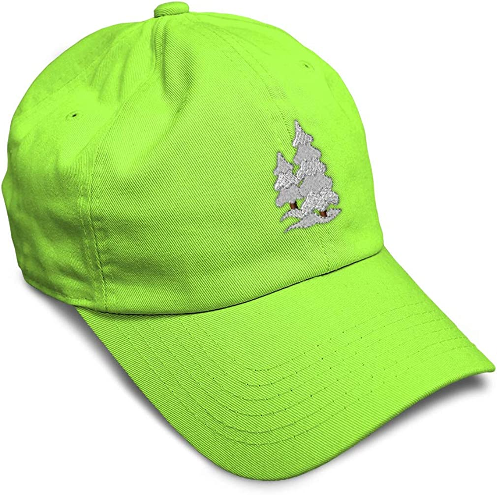 Custom Soft Baseball Cap Christmas Trees with Snow Embroidery Twill Cotton