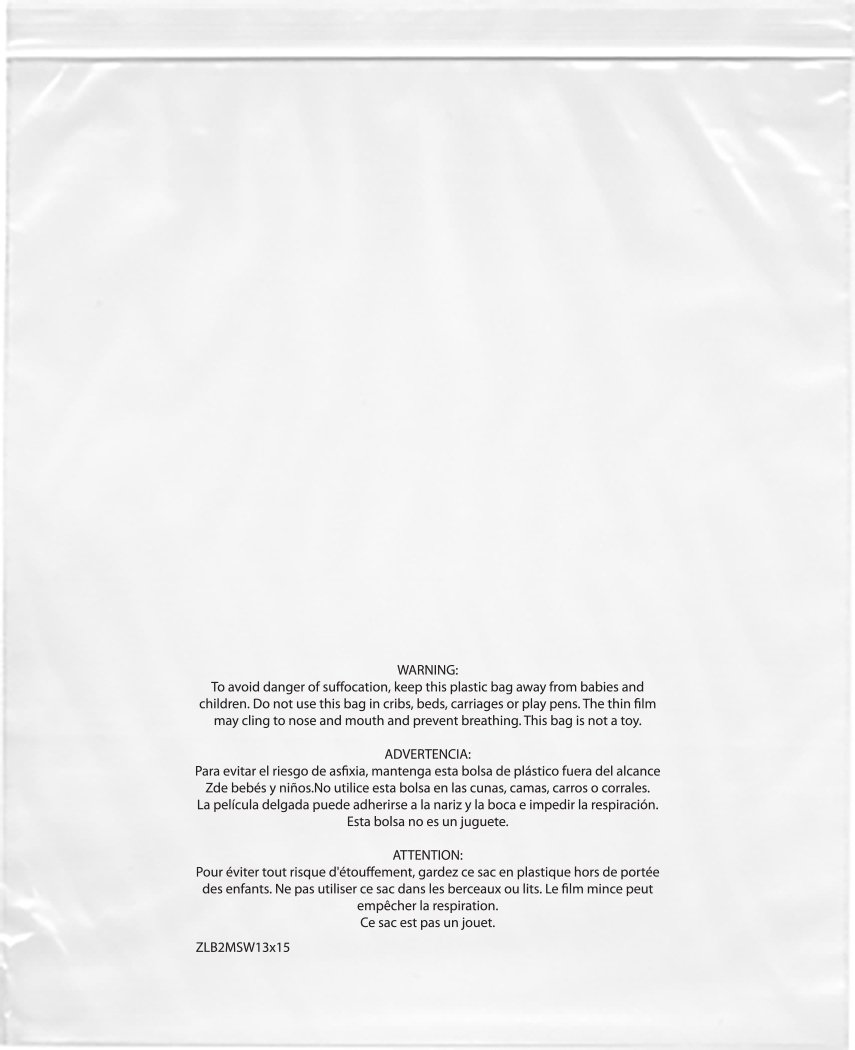 Plymor 13'' x 15'', 2 Mil (Pack of 1000) Zipper Reclosable Plastic Bags w/ Printed Suffocation Warning