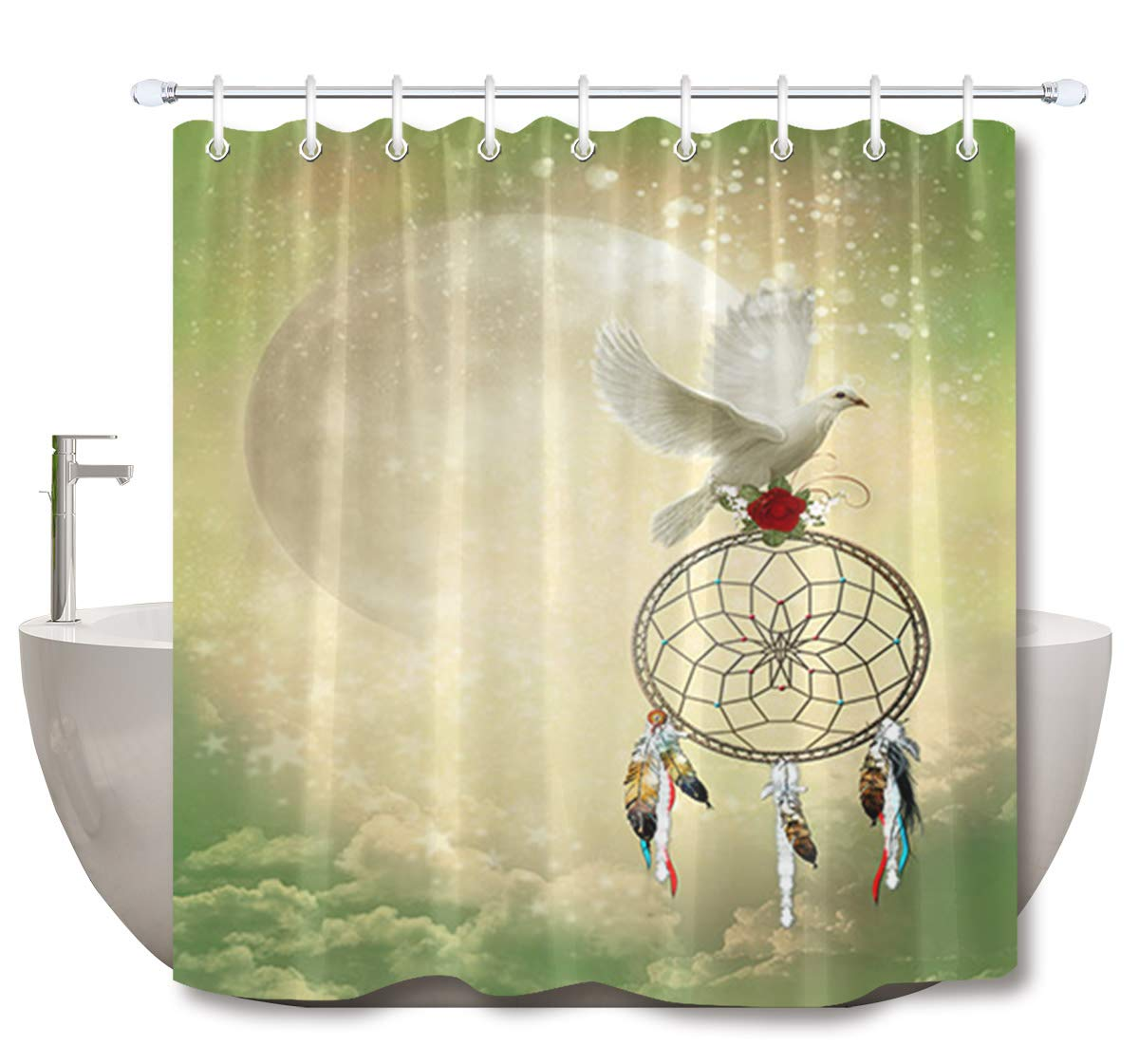 LB Dream Catcher Shower Curtain3D Printing White Pigeon With A Red Rose On Dreamcatcher Funny Tribe Bathroom Decor72x72 Inch Waterproof Anti Mildew Fabric