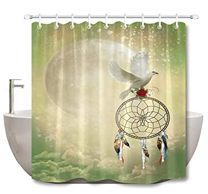 LB Dream Catcher Shower Curtain3D Printing White Pigeon With A Red Rose On Dreamcatcher