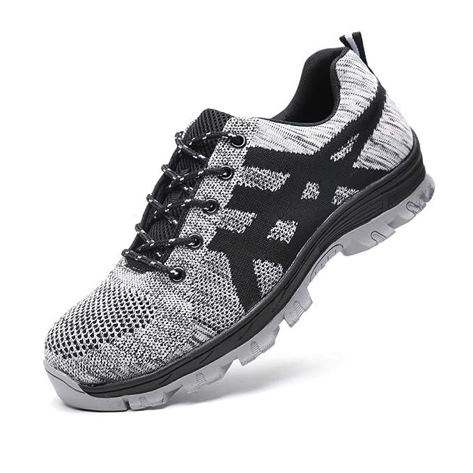 Zapatos de Seguridad para Hombre Mujer con Puntera de Acero Zapatillas de Seguridad Trabajo Calzado de Industrial y…