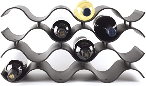 Baridoo Wine Rack. Stackable Countertop Wine Bottle Stand. 12 Bottles Wine Holder Organizer