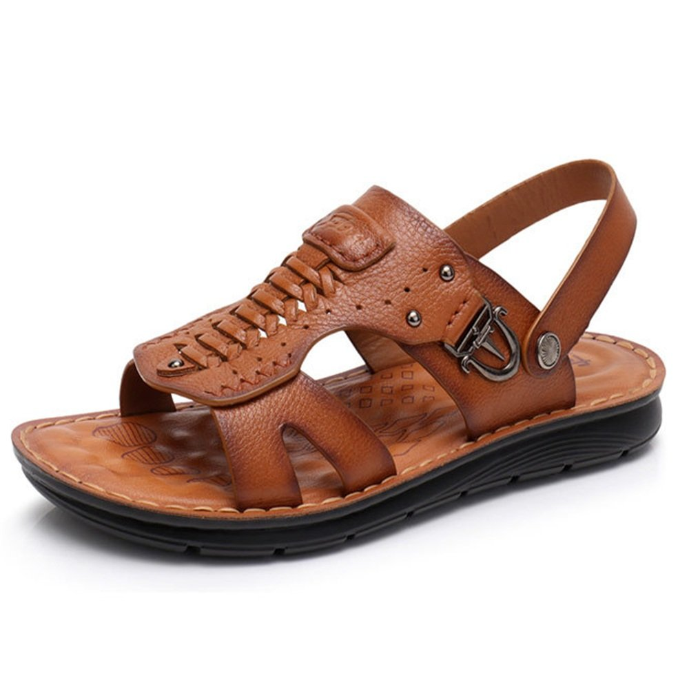 Sandale Männer Outdoor Leder Schwarz Anti-Rutsch-Schuhe Atmungsaktiv Coole Hausschuhe (Farbe : Braun, Größe : 40 2/3 EU) Braun