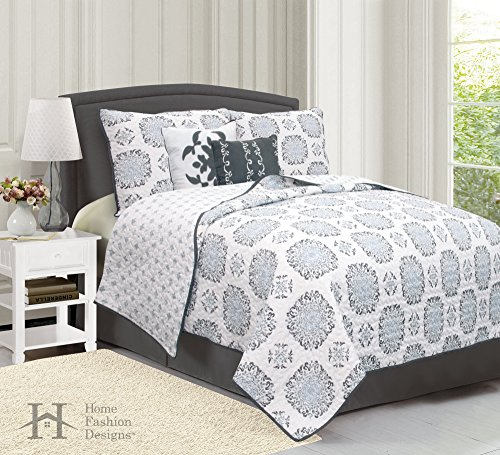 5-Piece Quilt Set with Shams & Decorative Pillows. Super Soft Microfiber Material Featuring a Unique & Beautiful Printed Design. Filigree Collection By Home Fashion Designs. (Full/Queen, Gray) (Quilts Bed Beautiful)