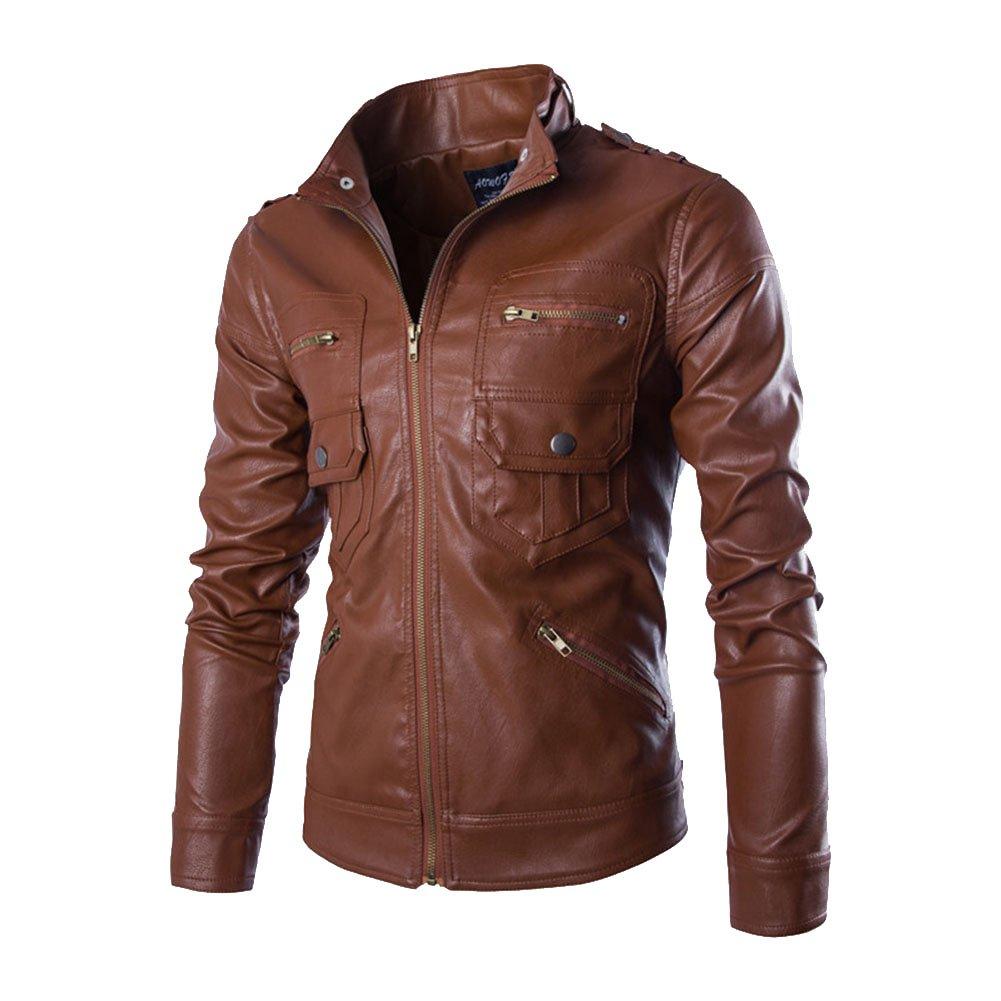 Homme Printemps Automne PU Cuir Manteaux Veste Blouson de Moto Manches  Longues  Amazon.fr  Vêtements et accessoires e477f4a72e2