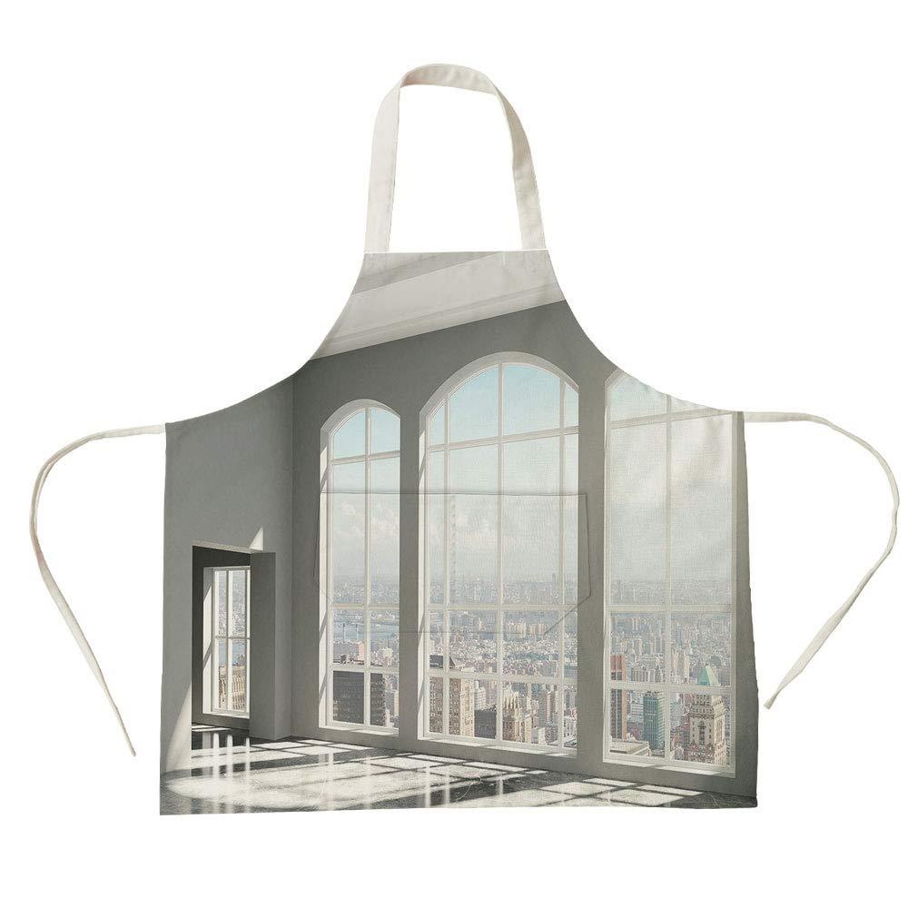 3Dプリントコットンリネン ビッグポケットエプロン モダン装飾 空ロフトシティスケープ アパートビルディング 工業風景画像 ライトグレーとホワイト 料理 ベーキングガーデニング 27.5