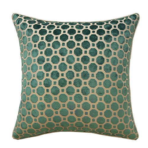 All Smiles Geometric Turquoise Teal Velvet Pillow Case Peacock Green Cushion Cover 17x17 Solid